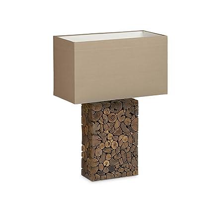 Relaxdays Lámpara de mesa Madera Encerada con mosaico de ...