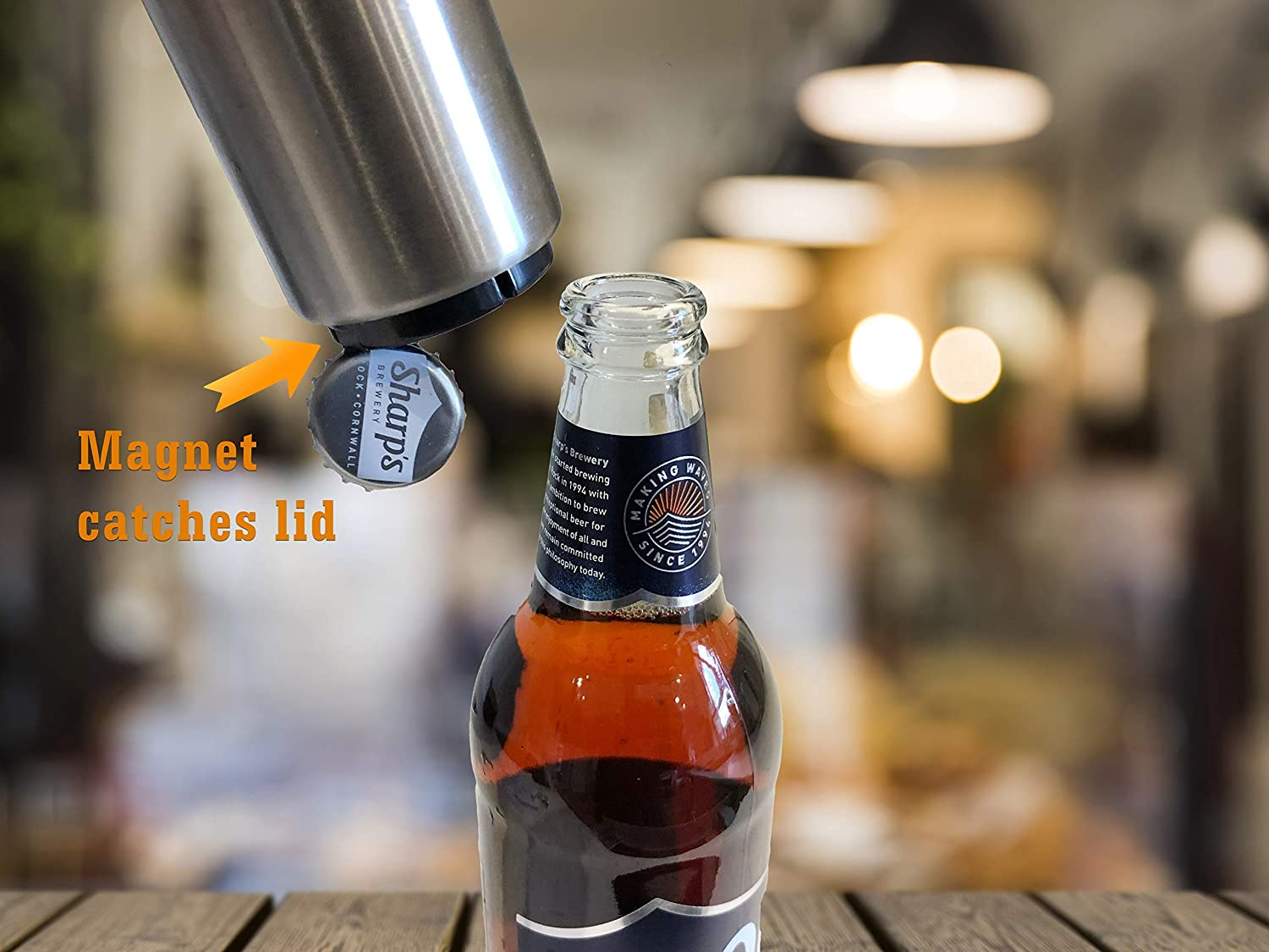 Silver Opens Glass Bottles in Half a Second Kitchen Gadgets Wildman Beer Bottle Opener with Magnet