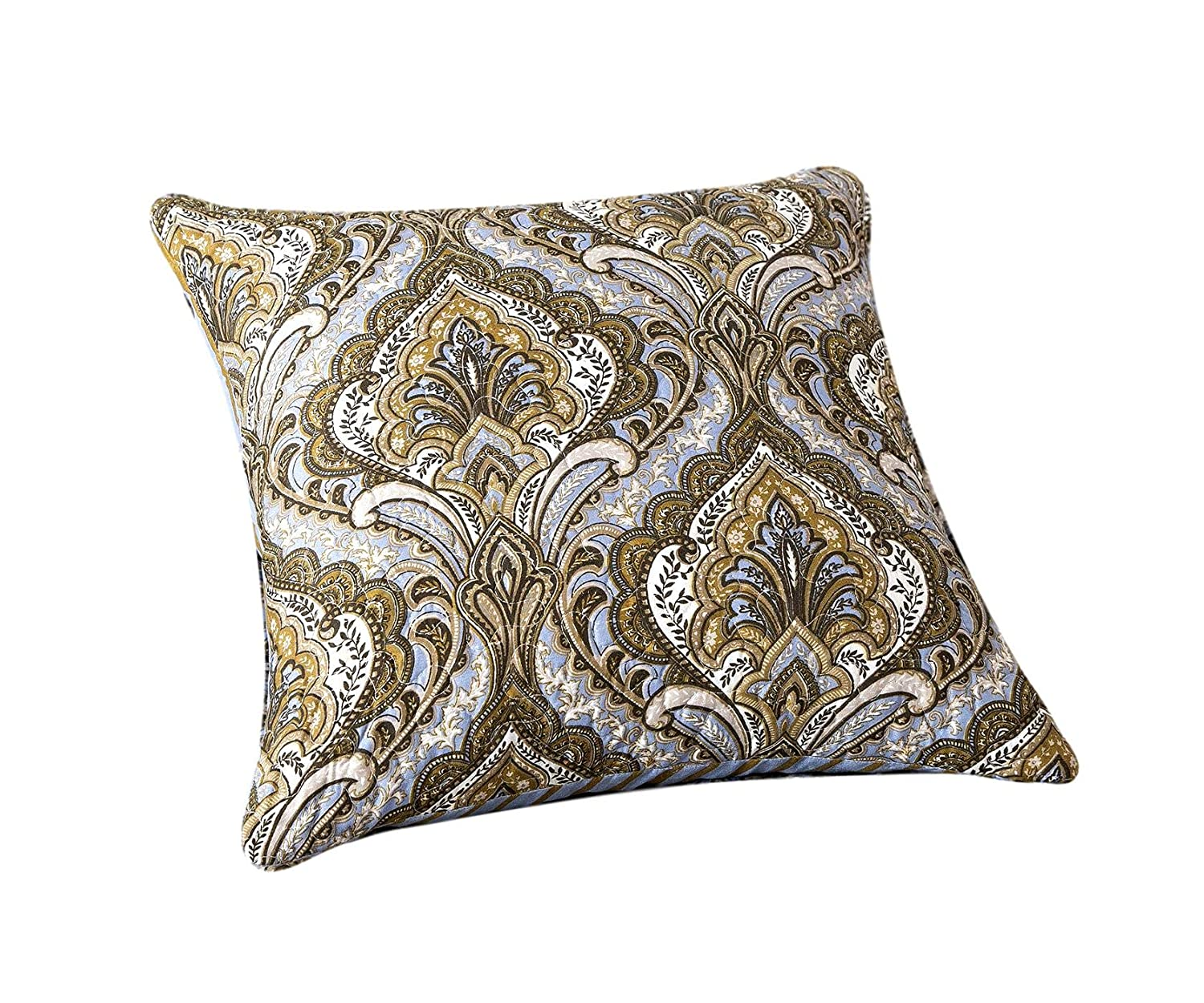 Tache Bohemian Spades Moroccan Neutral Olive Green Blue - Traditional Style Paisley Floral Damask Matelassé Cushion Covers - 2 Pieces - 18x18
