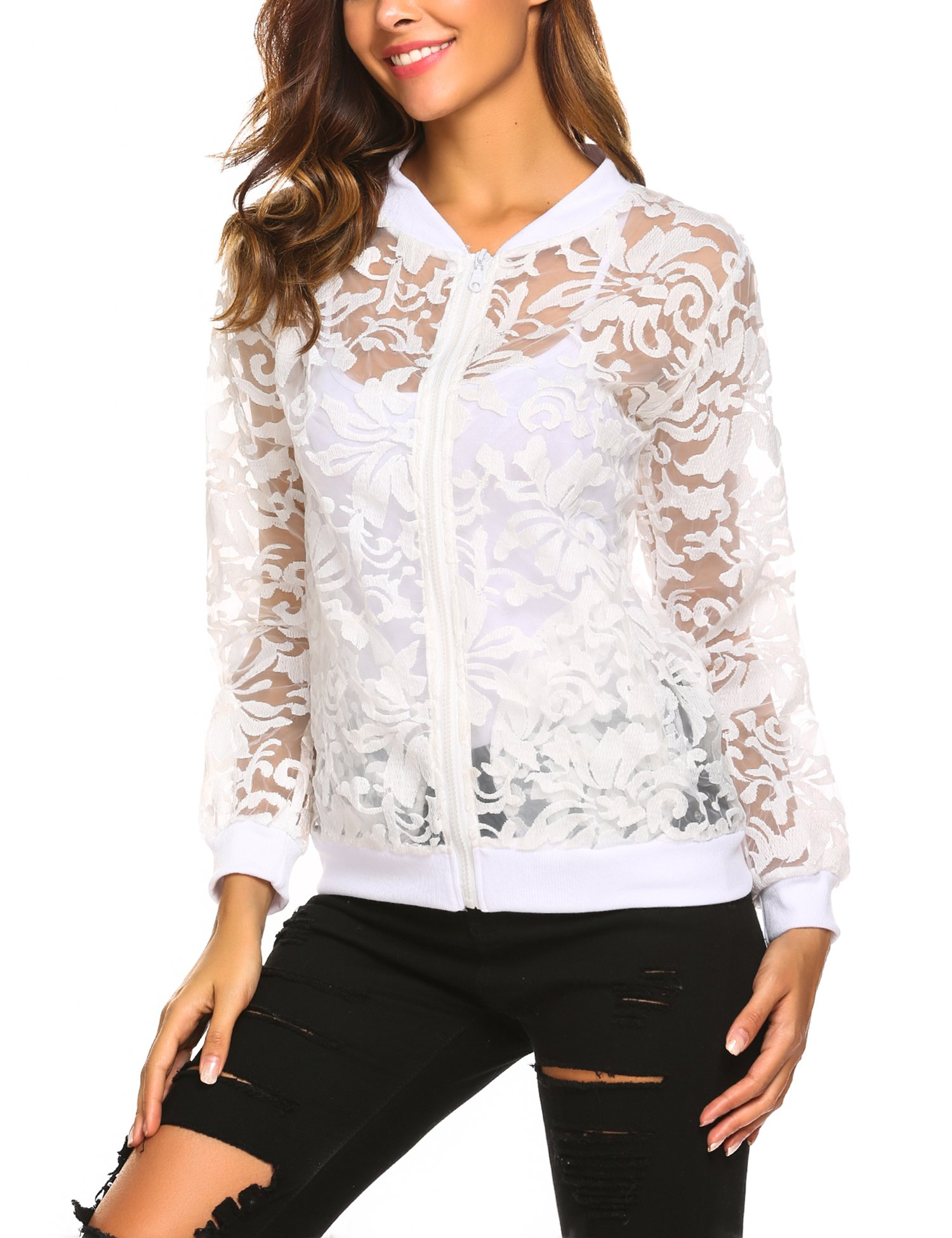 Mofavor Women's Long Sleeve Stand Collar Zip up Sheer Floral Organza Sexy Casual Bomber Jacket(White L)