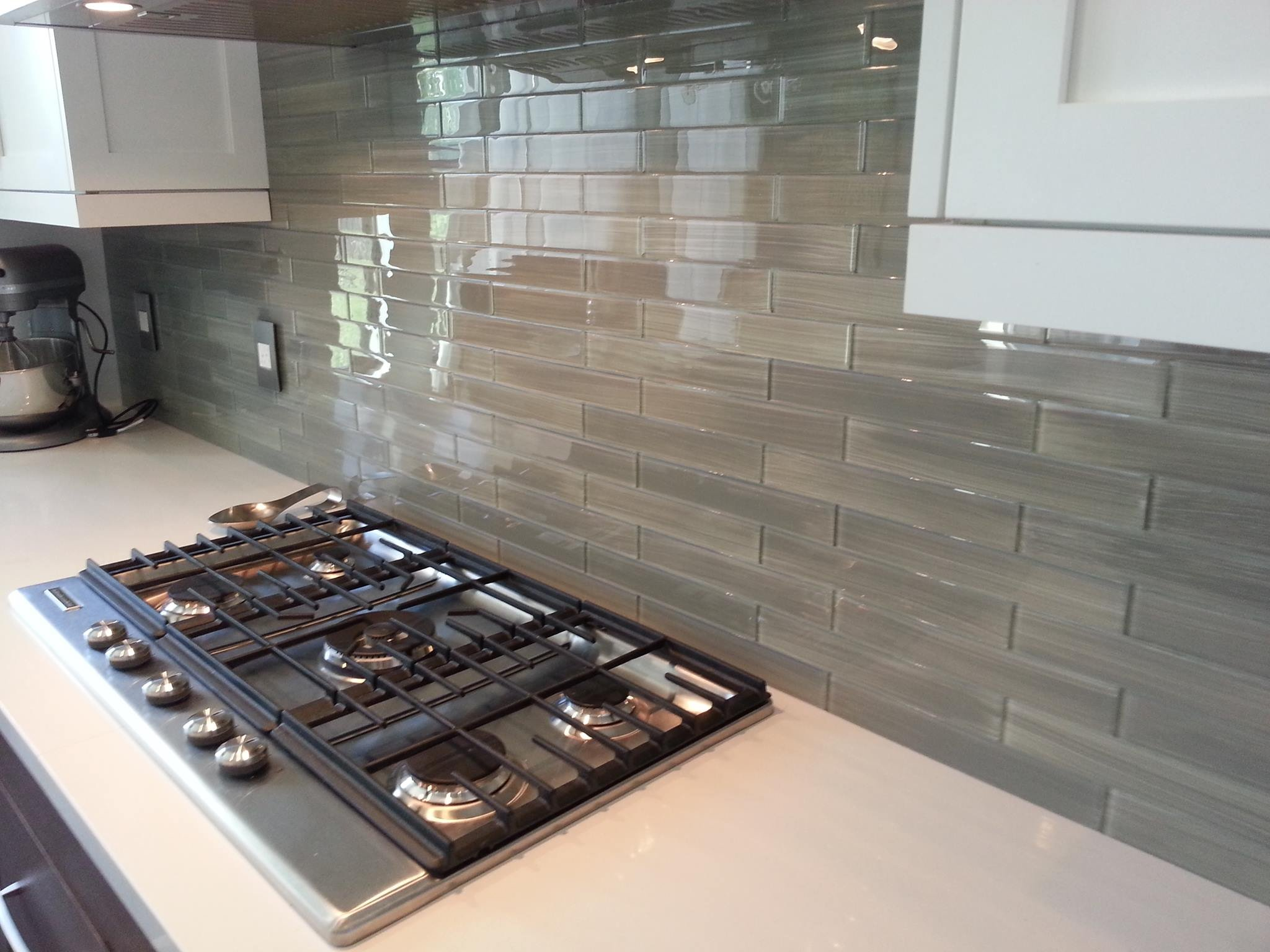 Perfect Gray Glass tile. Hand painted and custom made. Perfect for Bathrooms and Kitchens, 4x12 (10 Sq Ft Box) by Bodesi - Mosaic and Glass Tile (Image #3)