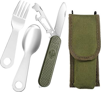 Al aire libre multiusos Camper cubiertos Set, ligero plegable de bolsillo cuchillo tenedor cuchara cubiertos para camping Escalada, senderismo, pack ...