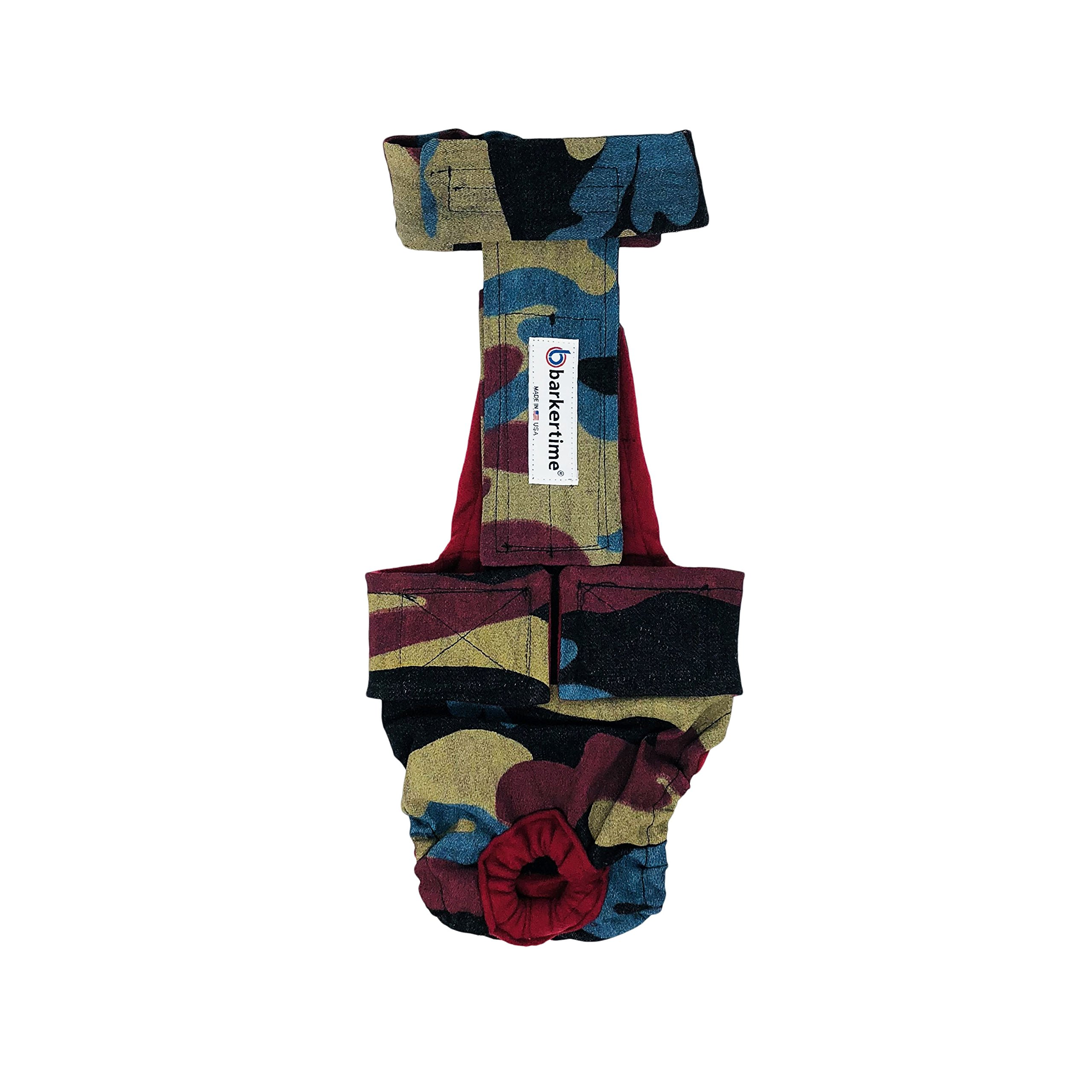 Barkertime Dog Diaper Overall - Made in USA - Rustic Camo Escape-Proof Washable Dog Diaper Overall, XXL, With Tail Hole for Dog Incontinence, Marking, Housetraining and Females in Heat