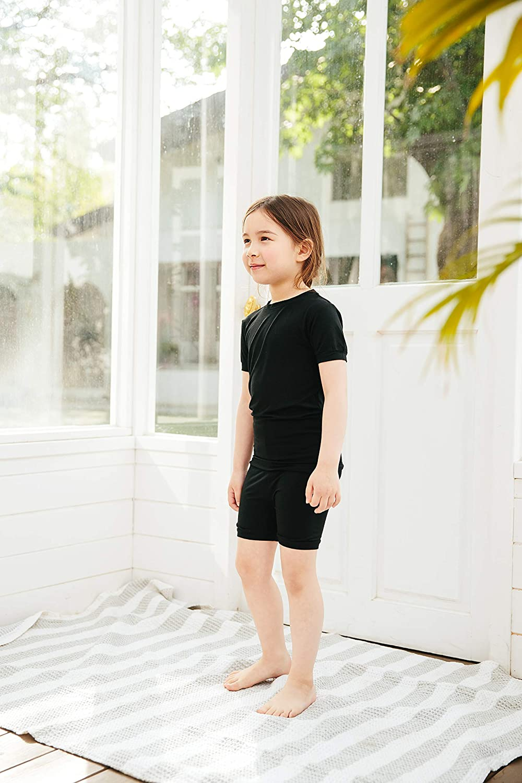 VAENAIT BABY 12M-8 Toddler Kids Girls Boys Solid Short Soft Shirring Viscos Cool Warm Fabric Outfits Outwear 2pcs Set