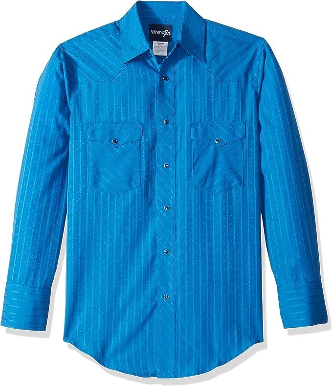 Wrangler - Camiseta deportiva occidental de dos bolsillos de manga larga para hombre - Azul - X-Large: Amazon.es: Ropa y accesorios