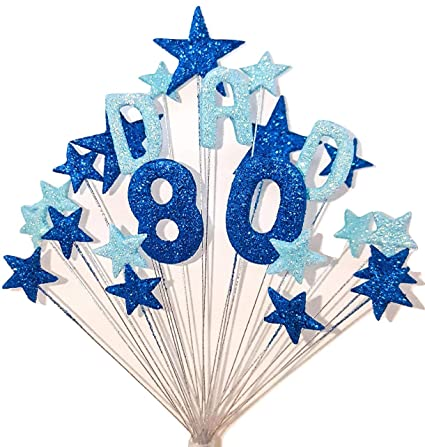 DAD 80TH BIRTHDAY CAKE TOPPER IN SHADES OF BLUE