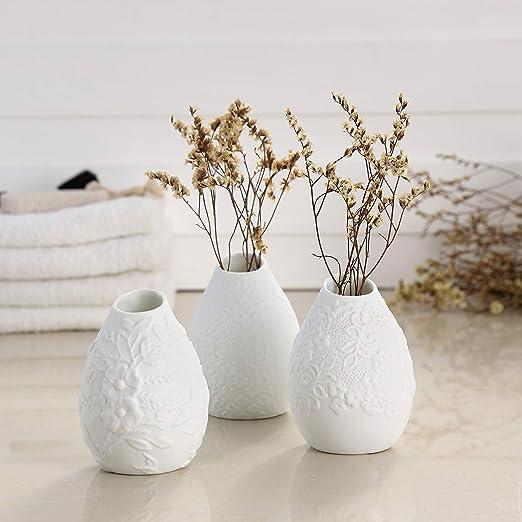 Mini Ceramic Vase Modern Ribbed Design Art Craft Flower Vase Home Wedding Decor
