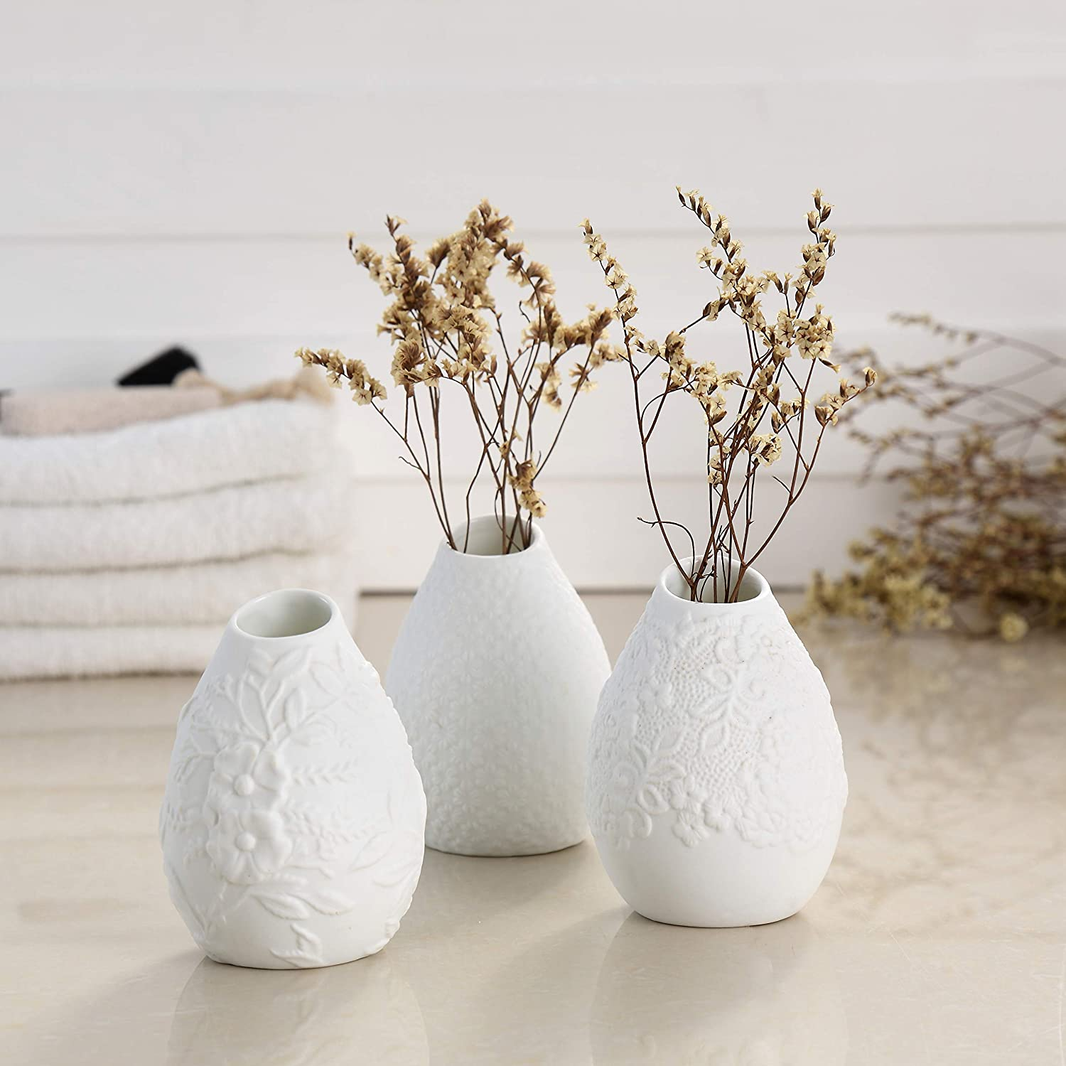 White Embossed Bud Vase Set