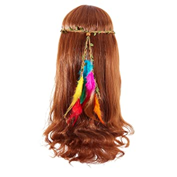 Boho Feather Headband Hairpiece Beaded Gypsy Festival Hairband Hair Accessories