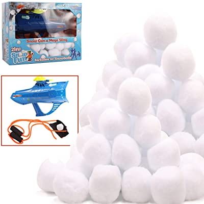 High Bounce Set of 50 Indoor Snowballs and Accessories Including Snowball Gun and Slingshot Great for Indoor and Outdoor Snowball Fights Fun: Toys & Games