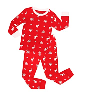 TinaLuLing Kids Reindeer Cartoon Christmas Girls Pajamas Red Pyjamas for Xmas Santa Pijamas(2-