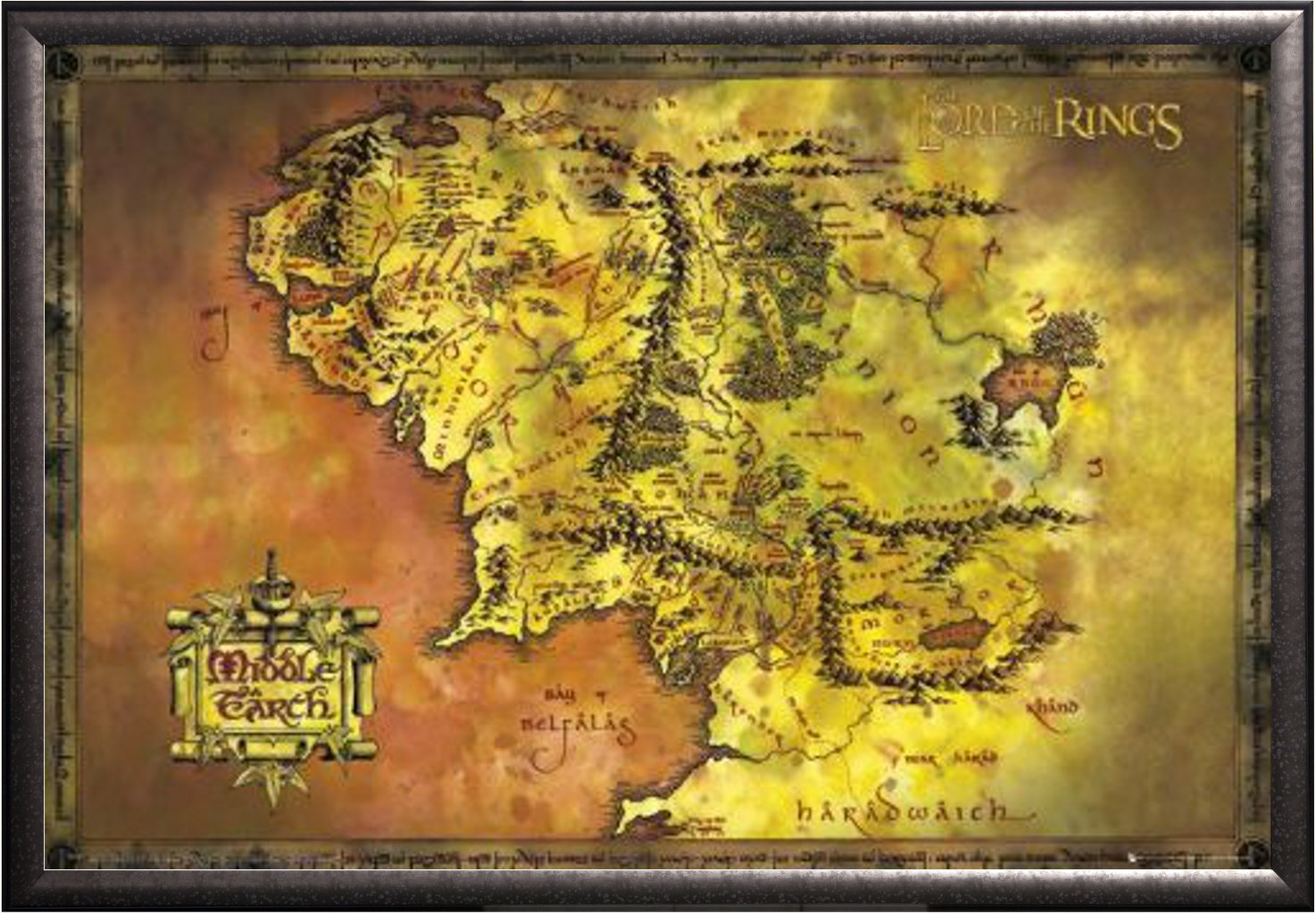 amazoncom lord of the rings map of middle earth 36x24 wood framed poster fine art print lord of the rings gifts posters prints