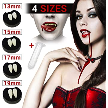 Givvet Vampire Teeth Fangs with Adhesive,Werewolf Sharp Fox Horror Pointy Teeth Glue Set,for Kids Adults Dentures Halloween Party Cosplay Props Fangs Decoration