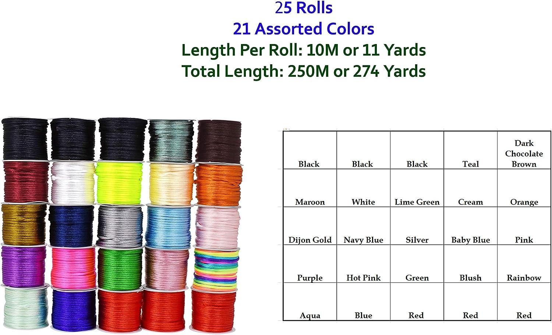 Aqua, 2mm 100 Yards Jewelry Making Mandala Crafts Satin Rattail Cord String from Nylon for Chinese Knot Trim Macram/é