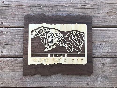 Amazon Com Okemo Mountain Wooden Ski Map 18 X 16 Handmade