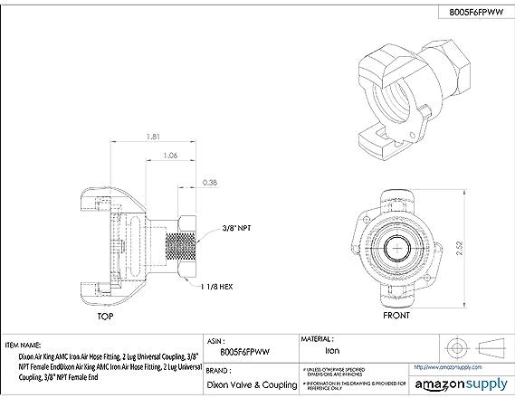 Dixon Air King Am13 Iron Air Hose Fitting 2 Lug Universal Coupling
