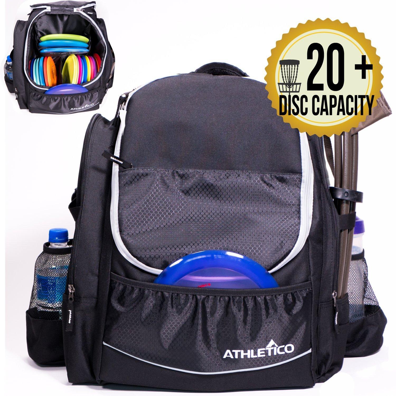 Athletico Power Shot Disc Golf Backpack - 20+ Disc Capacity - Pro or Beginner Disc Golf Bag - Unisex Design (Black) by Athletico
