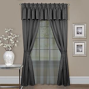 Achim Home Furnishings Fairfield Window in a Bag, 55 63-Inch, Ice Blue, Charcoal