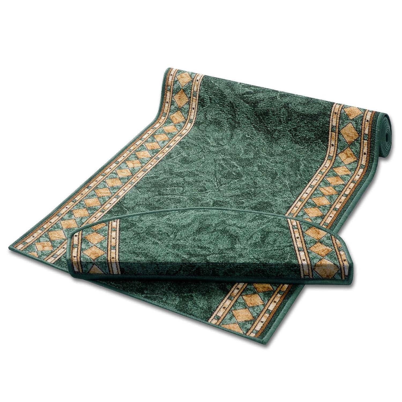 Stufenmatten Stufenmatten Stufenmatten grün mit aufwendiger Randmusterung   Qualitätsprodukt aus Deutschland   GUT Siegel   kombinierbar mit Läufer   65x23,5 cm   halbrund   15er Set B012CKTASS Stufenmatten 9de821