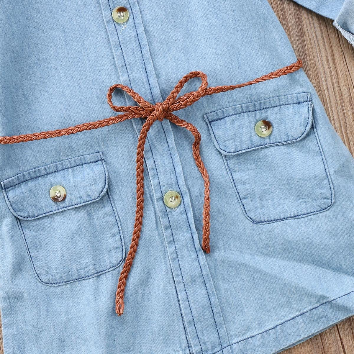 BiggerStore Fashion Kids Toddler Baby Girl Half/Long Sleeve Denim Tunic Jean Shirt Dress with Belt for Girl 1-5T