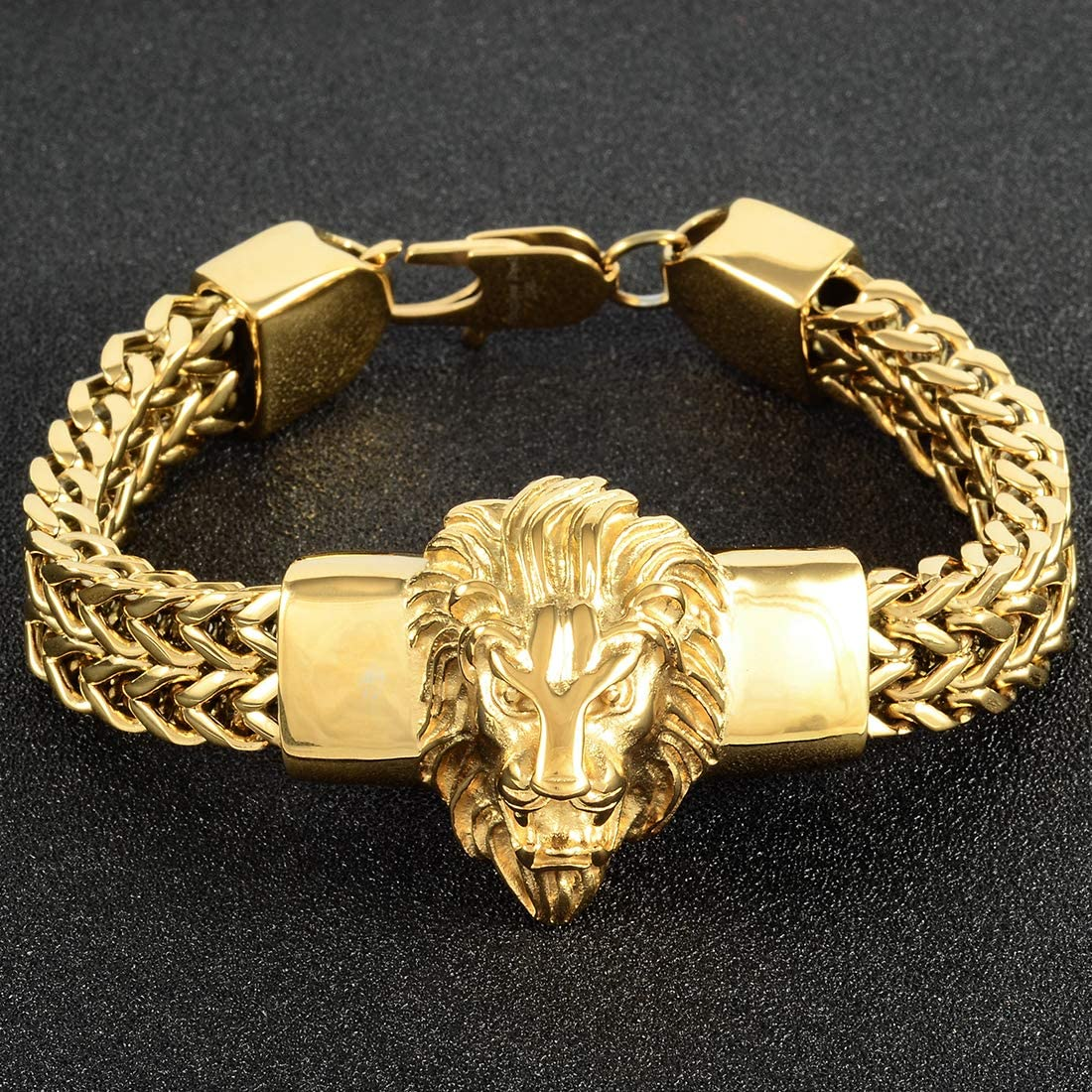W//W Lifetime Mens Bracelet Stainless Steel Heavy 12mm Double Franco Chain Lion Head Bracelet Jewelry Men Biker