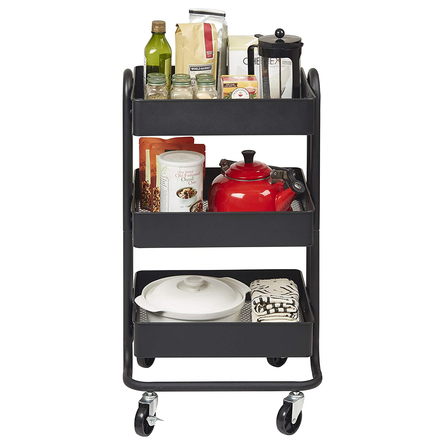 ECR4Kids 3-Tier Metal Rolling Utility Cart, Heavy-Duty Mobile Storage Organizer With Casters, Office Organization, Kitchen Storage, Classroom Cart, Beauty Cart, Coffee Cart, Mobile Library Cart