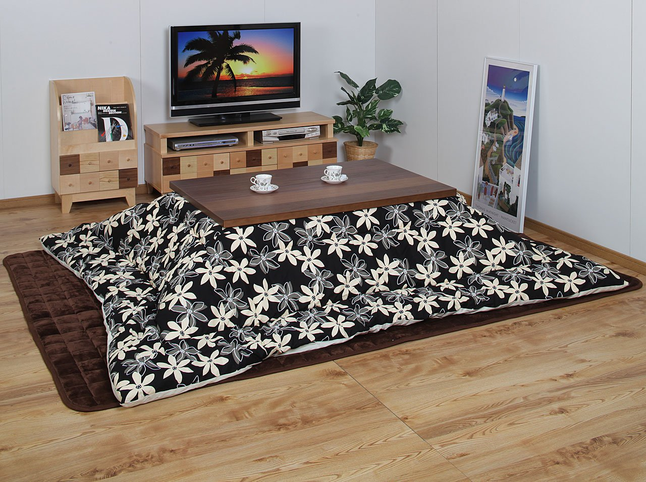 Modern kotatsu futon rectangle (205 x 315 cm) Marie pattern black 54625210