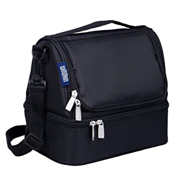 Amazon.com  Rip-Stop Black Double Decker Lunch Bag  Childrens Lunch ... 357bbb8ff69