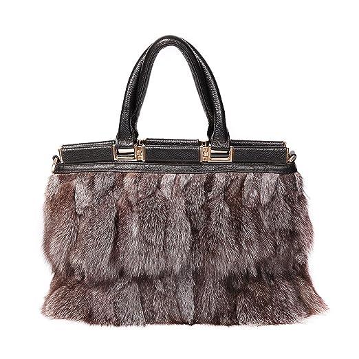 d21693947f7edf Amazon.com: URSFUR Women Real Raccoon Fur Handbag Purse Leather ...