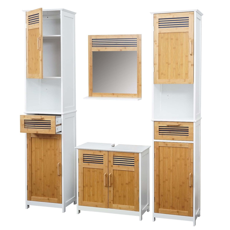 wei/ß Waschbeckenunterschrank Wandspiegel Bambus Mendler Badezimmerset HWC-A85