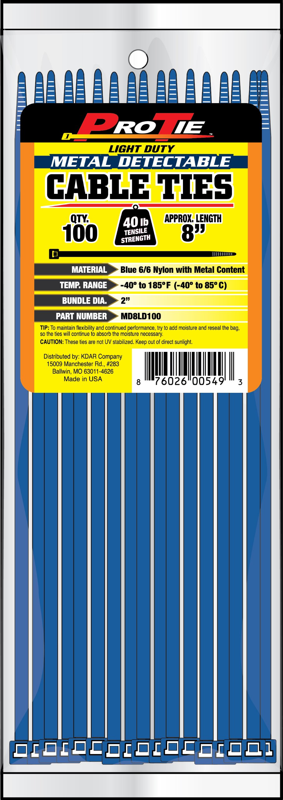 Pro Tie MD8LD100 8-Inch Metal Detectable Light Duty Cable Ties, Blue, 100-Pack