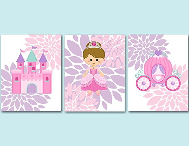 Princess Décor,Princess Wall Art,Pink Purple Princess Wall Art,Princess  Wall Decor
