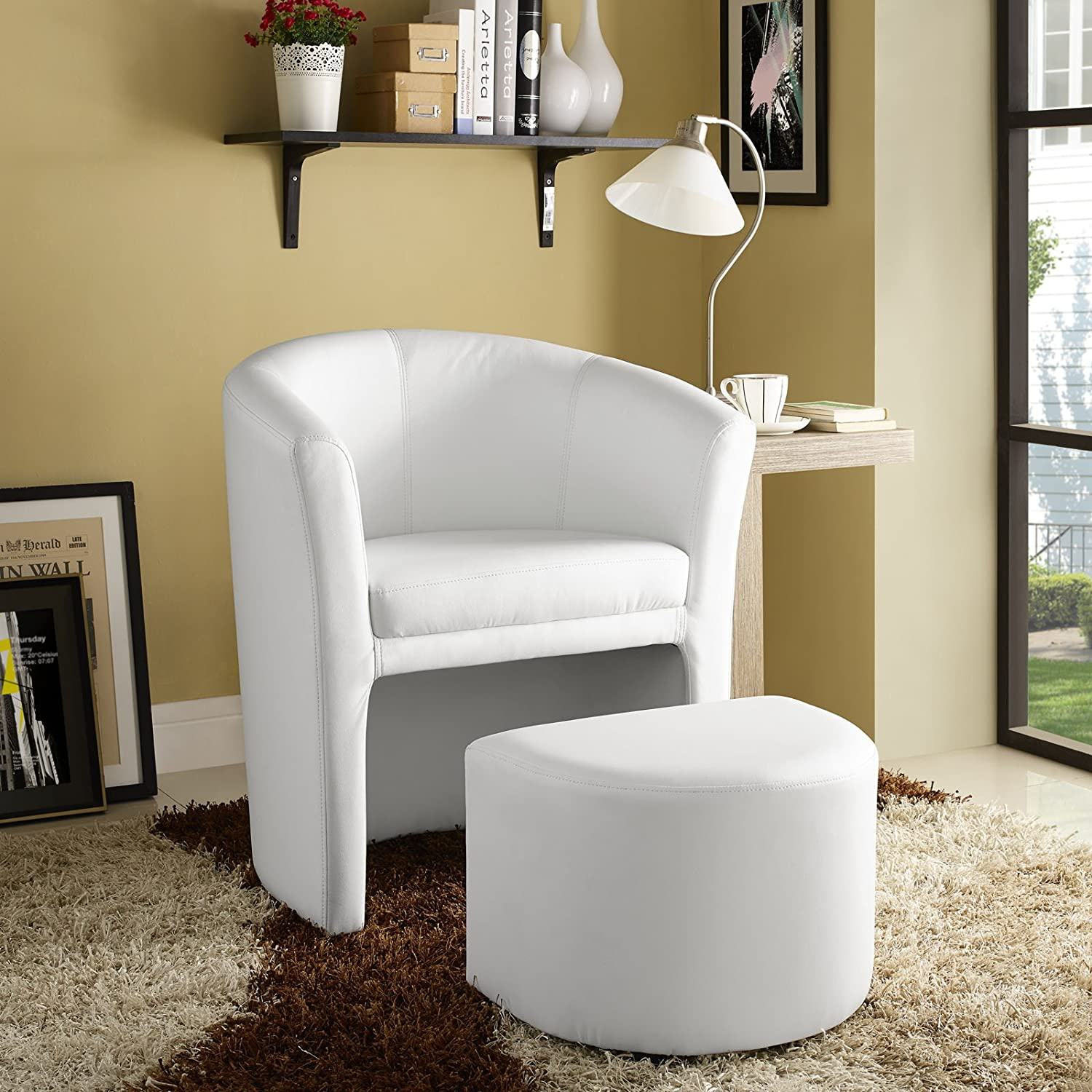 Modway EEI-1407-WHI Divulge Faux Leather Accent Arm Lounge Chair and Ottoman 2-Piece Set White