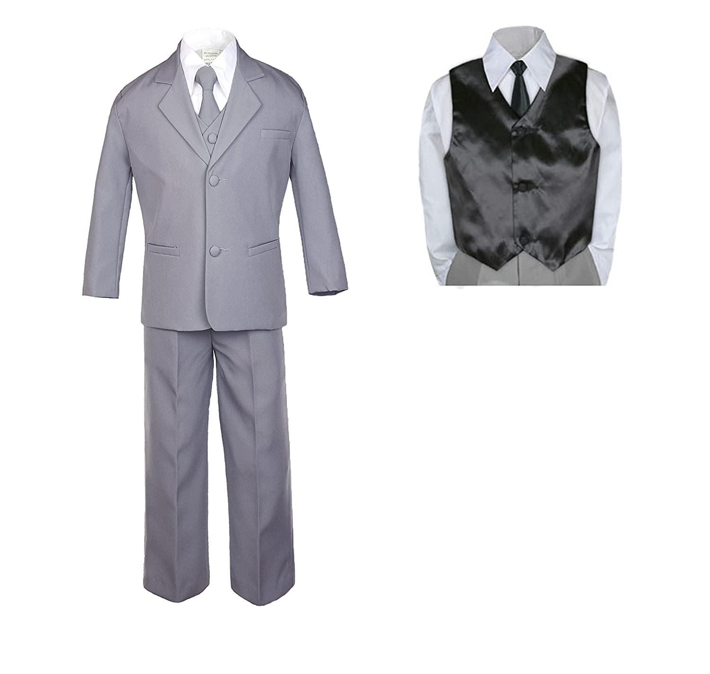 7pc Baby Toddler Boy Formal Party Medium Gray Suit w//Satin Vest /& Necktie Sm-20