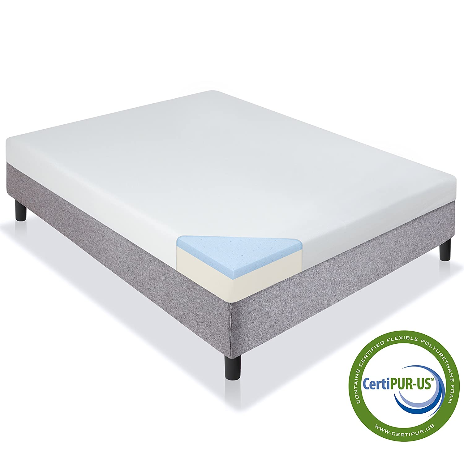 Amazon Com Best Choice Products 5in Twin Size Dual Layered Gel Memory Foam Mattress W Certipur Us Certified Foam Home Kitchen