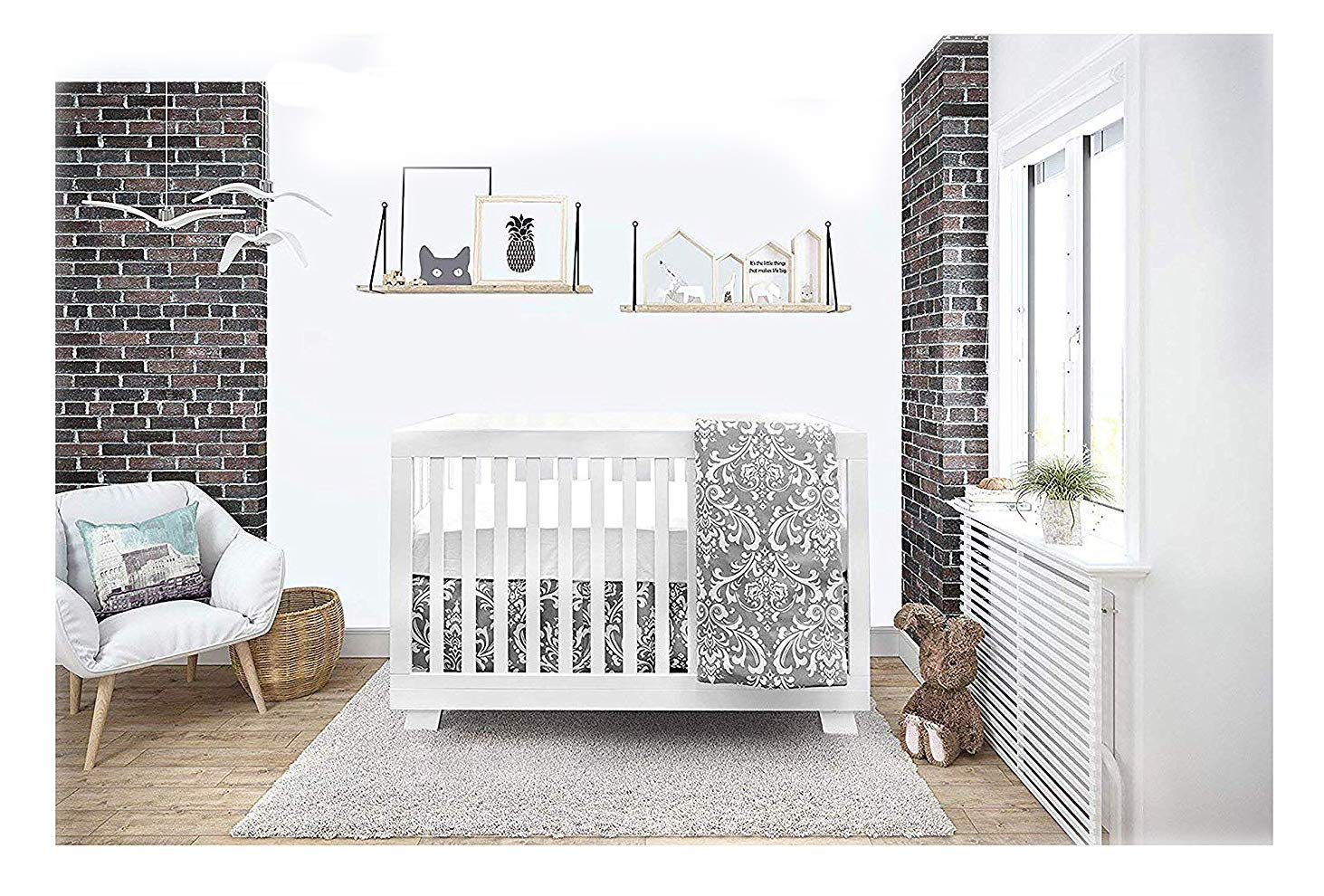 BOOBEYEH & DESIGN Baby Crib Bedding 4 Piece Set, Gray and White Floral Design, Includes Fitted Sheet, Crib Comforter, Comforter Cover, Skirt, Perfect for Baby Girls and Boys