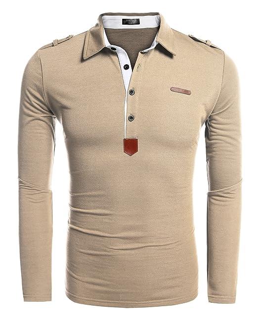 new style ab062 d3663 Coofandy Herren Poloshirt Langarm Stehkragen mit Knopfleiste Regular Fit  Basic Polyester Elegante Schwarz Polohemd für Männer