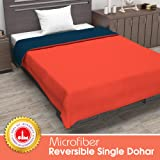 Divine Casa Solid Microfibre Blanket/Duvet Lightweight/AC Single Dohar (Orange and Blue, 55 x 82 Inch)