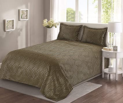 Cloth Fusion Medley 400TC Reversible Bed Cover with 2 Pillow Cover-90