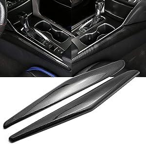 Xotic Tech Cup Center Console Cover Decor,Carbon Fiber Style Interior Center Gear Shift Frame Stripe Cover Trim Compatible with Honda Accord 2018 2019 2020