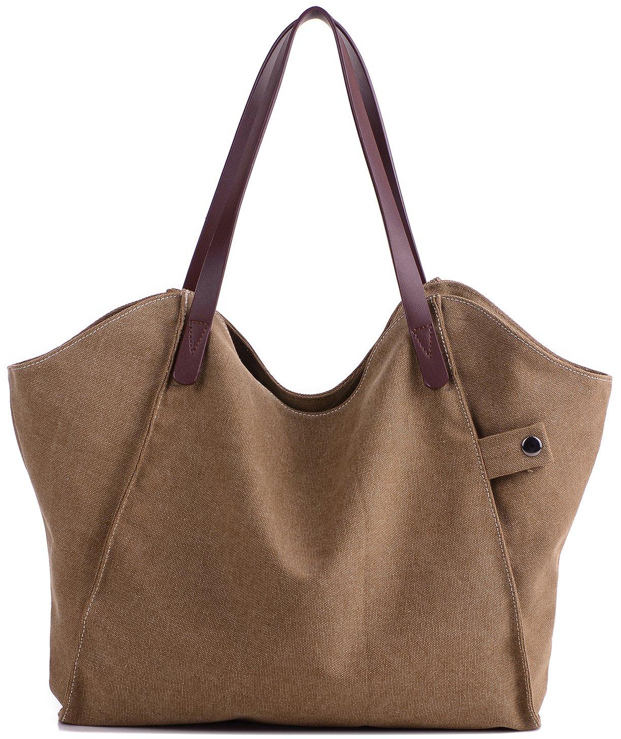Damen Leinwand Handtasche Umhängetasche Tasche Shopper Henkeltasche aus Canvas Blau SMTA004A03