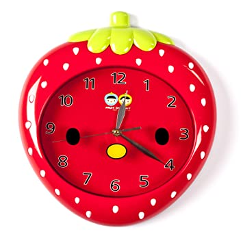 Amazoncom Wall Clocks For Kids Red Strawberry Fun Colorful - Wall clock for kids room