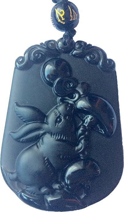 Pendentif Astrologie Cochon en Obsidienne