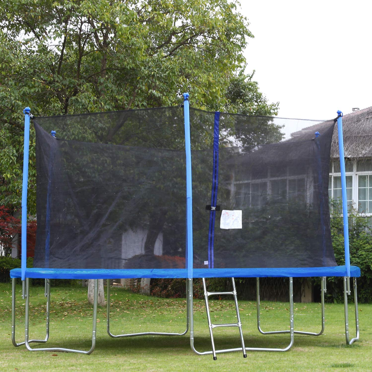 FDW Trampoline with Enclosure Net Ladder Outdoor Fitness Trampoline PVC Spring Cover Padding for Children and Adults