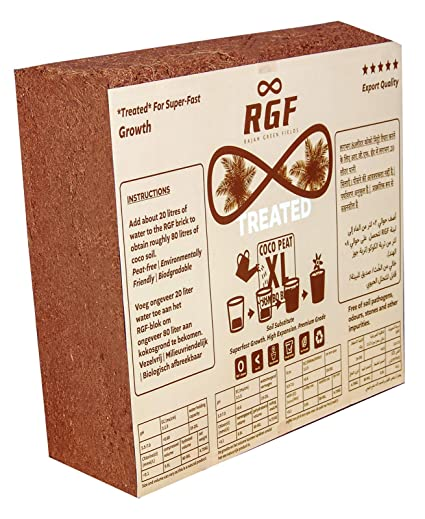 Rajah Green Fields Coco Peat Block | High Expansion | 5kg (Treated)