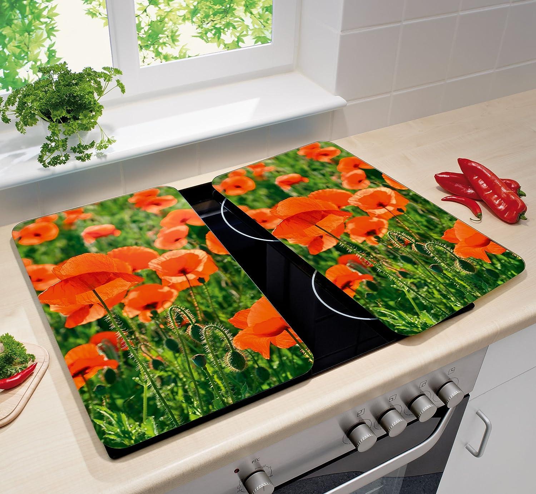 Wenko 2521434500 - Planchas Protectoras para Cocina con diseño de Campo de Amapolas, 2 Piezas, de Vidrio, Cada una 30 x 1.8 y 4.5 x 52 cm