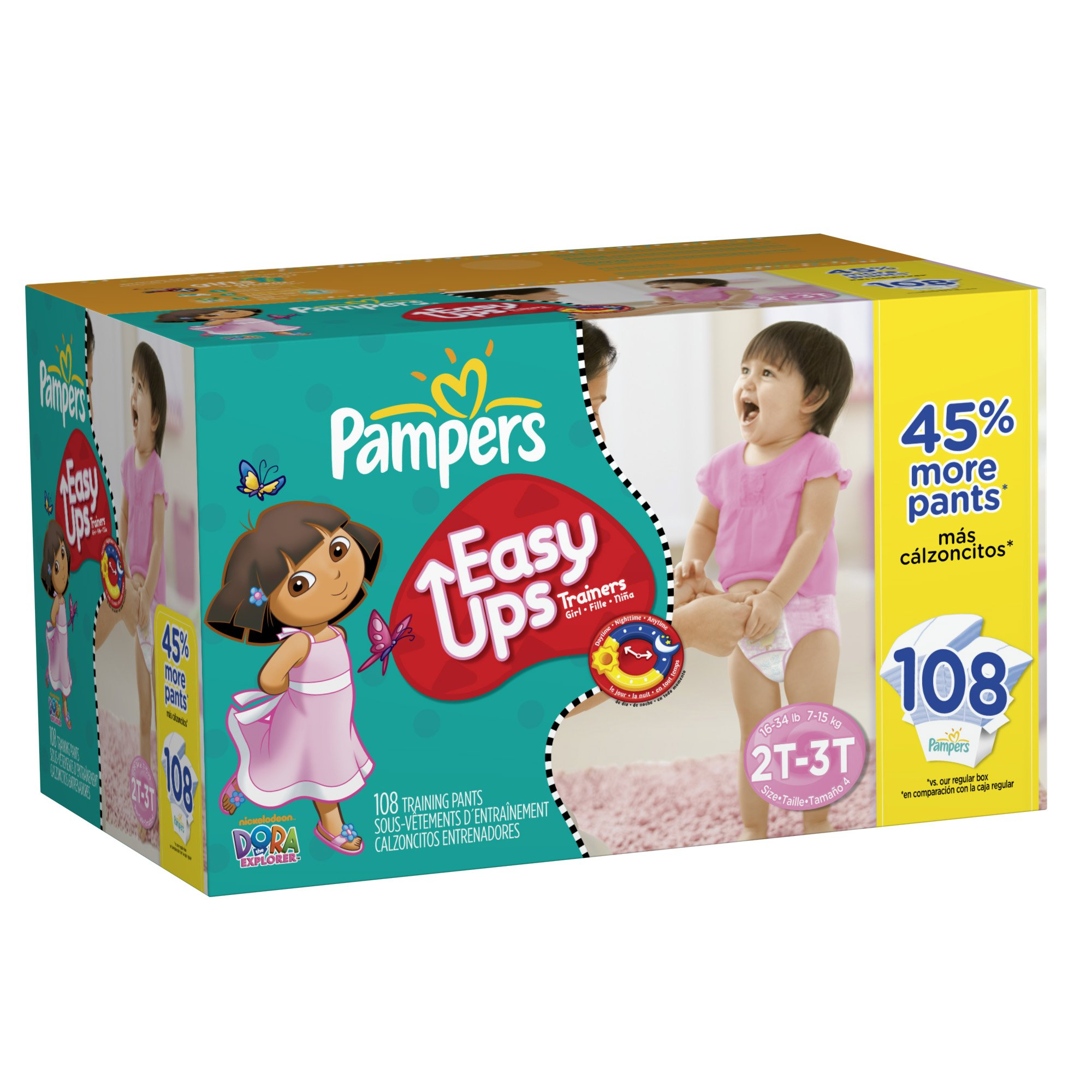 Pampers Easy Ups Trainers for Girls Value Pack, Size 2T/3T, 108 Count