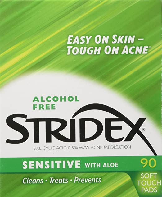 Stridex Triple Action Pads with Aloe, Sensitive Skin 90 ea: Amazon.es: Salud y cuidado personal