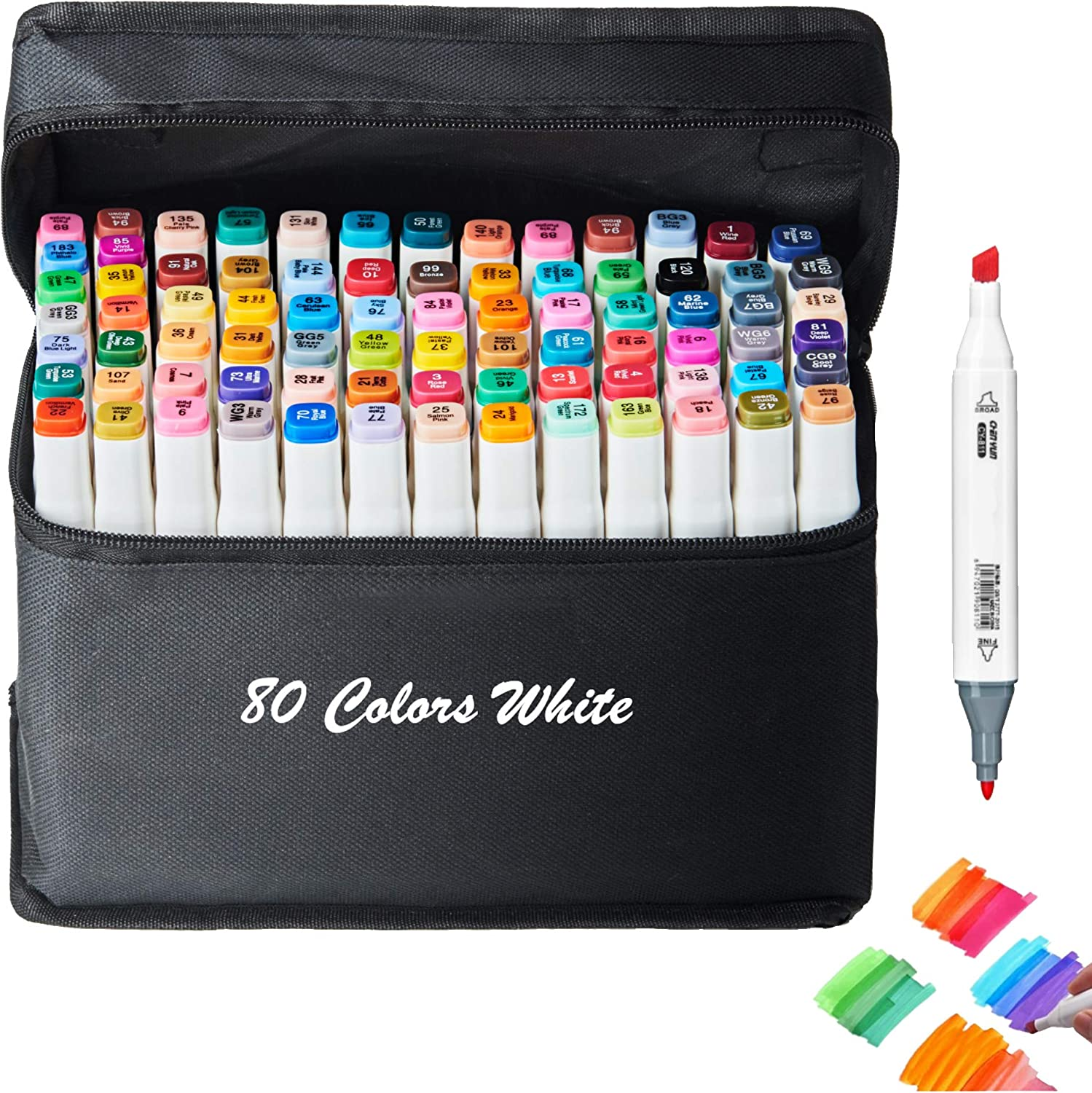 Animation Art Sketch Sketching Classic Series Alcohol Felt Permanent Markers Alcohol-based Markers 80 Color Alcohol Markers,Dual Tip Art Marker Pen
