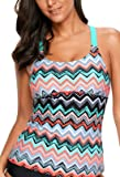 Aleumdr Womens Striped Printed Strappy Racerback Tankini Swim Top No Bottom S - XXXL